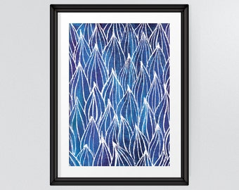 Nature Art, Blue Leaf Pattern, Abstract Art, Printable Wall Art, Living Room Decor, Office Decor, INSTANT DOWNLOAD
