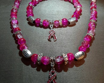Pink beaded breast cancer awareness necklace & bracelet set