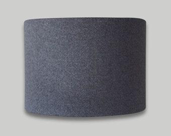 Carnegie Pewter Charcoal Grey Herringbone Drum Lampshade lightshade 20cm 25cm 30cm 35cm 40cm dia Country Fabric Lamp Shade
