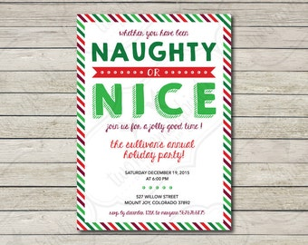 Naughty or Nice Christmas Party Invitation, Xmas Party Invites, Funny Christmas Invitation ,  5 x 7 ,  Printable, Digital Download File