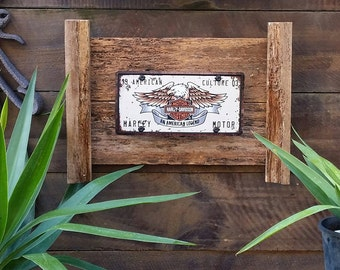 Harley Davidson eagle and bar and shield on recycled timber frame
