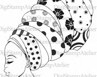 African Woman. INSTANT DOWNLOAD Digital Digi Stamps