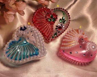 Wedding favors or Valantines day - Jewelry heart shaped box / kumkum box with beads pearls and rhinestones