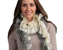 Women's Two-tone Chic Leopard Printed Ruffled , Women's Accessories, Free Size Shawl Scarf, 100% Polyester Shawl Scarf, Multi Colors Scarf
