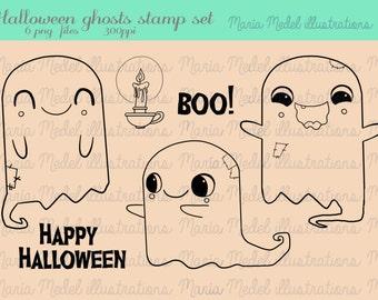 Divertido de HALLOWEEN línea arte sello conjunto-lindo fantasmas