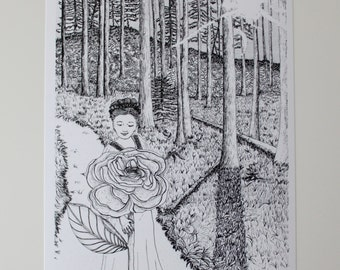 Wall Art, Illustration, Pen and Ink, Art Print, Enchanted Forest, Girl