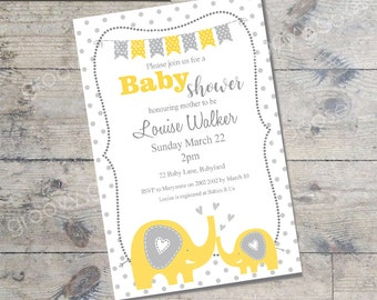 BABY SHOWER invitation Elephant Love (Yellow) DIY Printable Baby shower Elephant theme baby shower yellow baby shower invitation