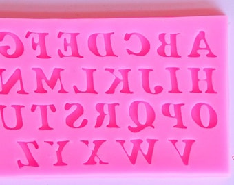 Silicone Mold / Silicone Mold Alphabet / Fimo Mold / Cake Fondant Mold / Pink Mold / LaJoieEnRose / Polymer Clay Mold / Letters Mold / Mold