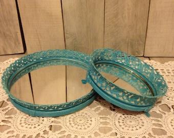 tray-mirror tray-filigree tray- perfume tray- vintage tray- blue tray- dresser tray- mirrors-shabby chic tray-cottage chic tray-round mirror