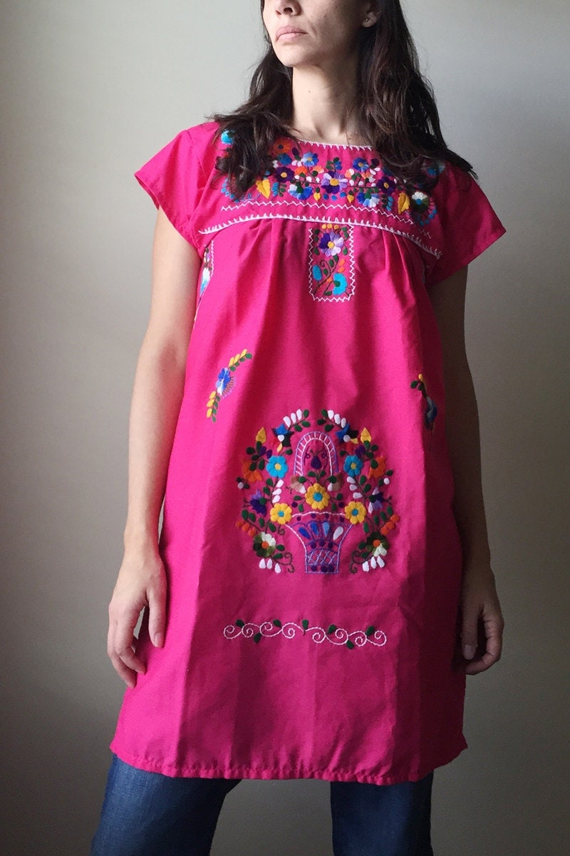Mexican embroidered women dress tunic vintage summer dress