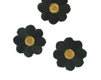 Vintage Black/Gold Flower Patch