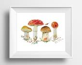 SALE -  Mushrooms, Watercolor Plant, Nature Poster, Autumn Fall Season, Orange, Earth Poster, Watercolor Nature, Home Decor, Living Room