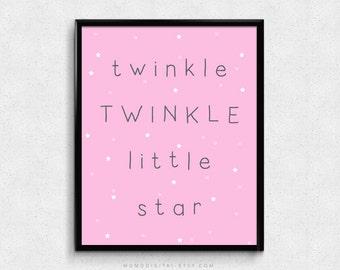 SALE -  Twinkle Twinkle Little Star, Baby Girl Nursery, Girl Nursery Print, Pink Poster, Baby Print, Modern Art Decor, Star Quote