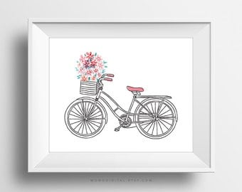 SALE -  Doodle Bicycle, Floral, Nature Flower, Shabby Chic, Baby Girl Nursery, BOHO, Girl Room Decor, Living Room, Watercolor