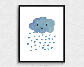 SALE -  Kawaii Rain, Watercolor Rain, Handpainted Poster, Weather, Nature Print, Heart Rain, Nature Face, Blue Watercolor, Nursery