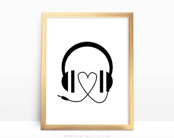 Headphones poster | Etsy