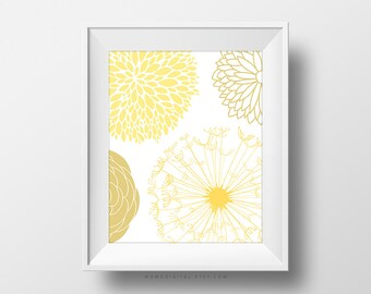 SALE -  Yellow Pom Pom, Flower Poster, Bathroom Decor, Kitchen Print, Home Idea, Spring Color, Girl Nursery, Baby Nursery, Modernism