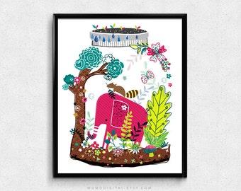 SALE -  Animal Jar, Hand Drawn Doodle, Elephant, Beaver, Nature Tree Plant, Fairy Tale, Baby Nursery, Kid Children Decor, Dorm, Colorful