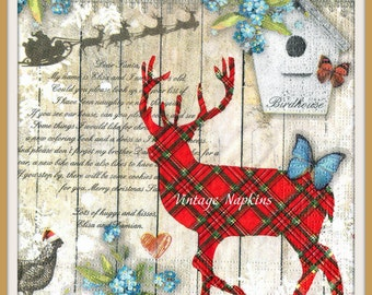 PAPER napkins for DECOUPAGE-CHRISTMAS Collage Deer with Butterfly