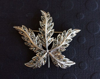 Sterling silver and marcasite vintage pin brooch 925 ornate evening party wedding bridal leaf statement