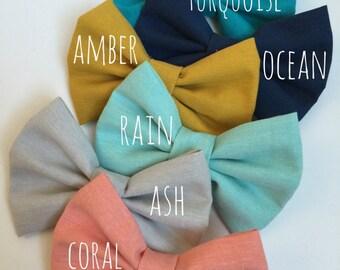 Set of 6 ~ 100% Organic Cotton ~ Fabric Bow ~ Hair Bow ~ Hair Clip ~ Headband
