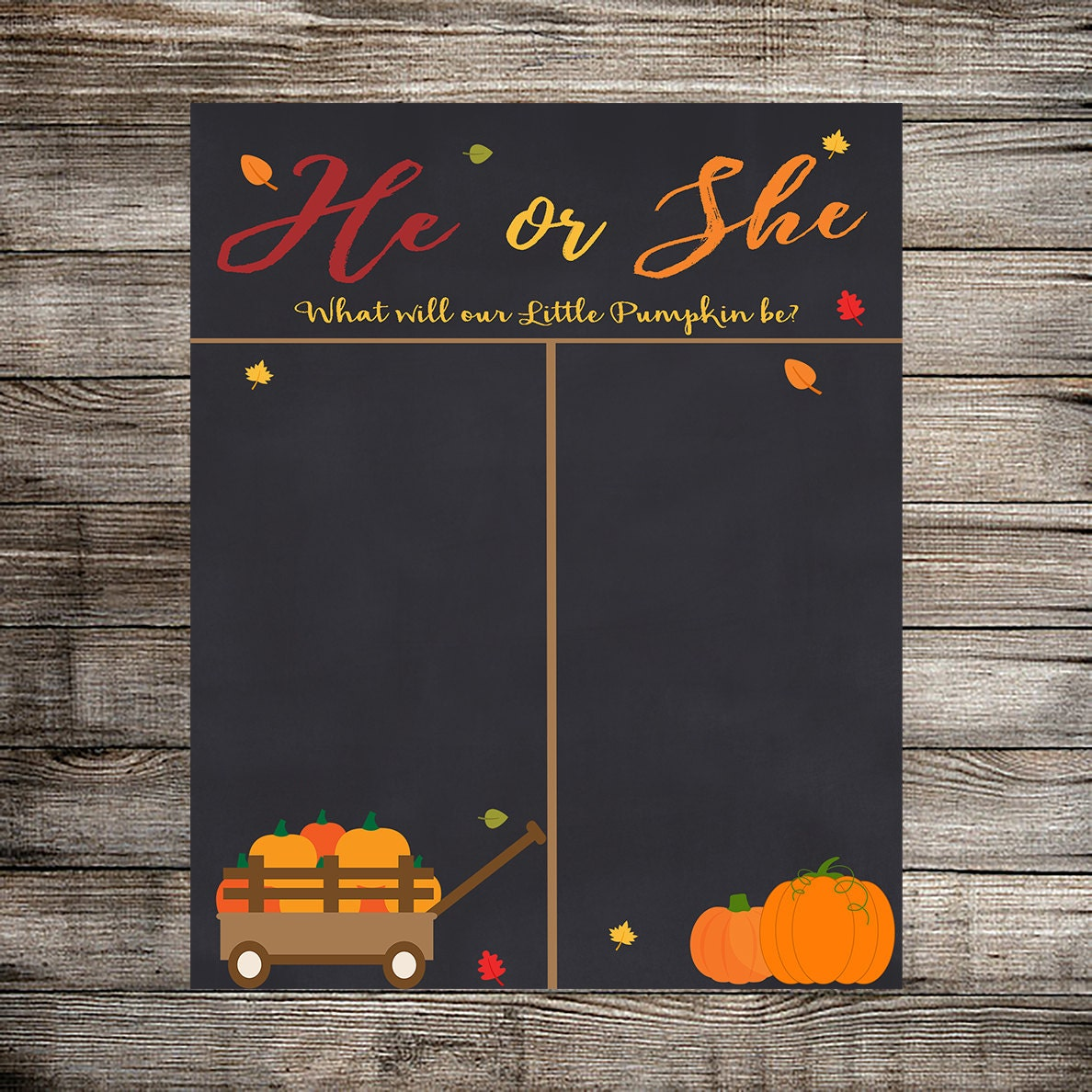 Fall/Autumn Gender Reveal Vote Gender Reveal Party Boy or
