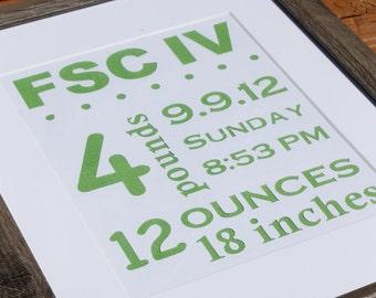 Green Nursery Wall Art, Birth Announcement Art, Nursery subway art with birth stats, Baby name sign,