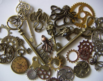 Steampunk Charms Assortment Bronze Brass Silver Clocks Gears Octopus Crow Skulls  Butterfly Keys and More! Charms 35pcs Lot#2