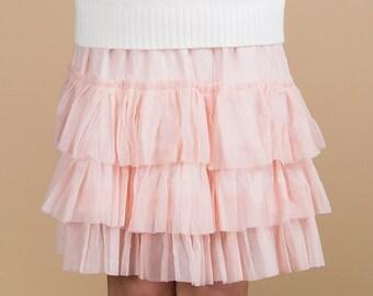 Pink tutu skirt, pettiskirt, layered ruffle skirt, layered ruffle tutu skirt, girls skirt, girls clothing, pink girls skirt, ruffled skirt