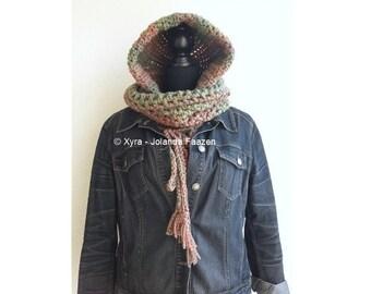 Xyra PATR1036-crochet pattern-shoulder wrap with hood and alpaca-hoodie-scoodie (Dutch & English-US)