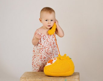 Rotary Phone Hand Knit Plush Toy, Stuffed Toys, Soft Toy Gift