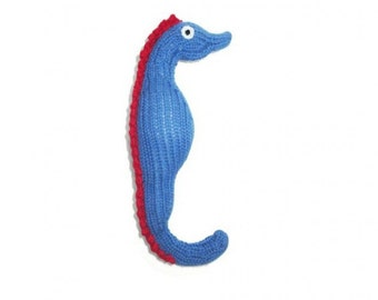 Seahorse Baby Rattle Toy - Baby Safe Eco Friendly Organic Cotton Toys - Newborn Baby Gift