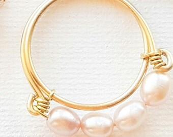 Custom ring, fresh water pearl, pearl ring, handmade ring, wire rings, natural pearl ring