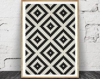 Aztec Pattern Print, Black and White Print, South Western Wall Art, Printable Art, Mexican, Tribal, Aztec Poster, Black White Geometric