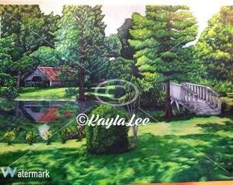 Beautiful Backyard with Bridge and Barn Art Print