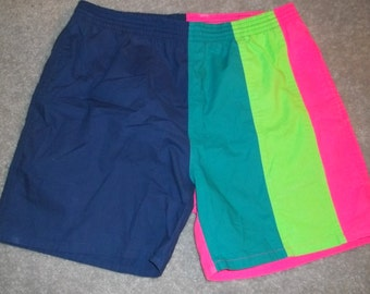 80's GIVENCHY ACTIVE Swim Trunks NEON Colors