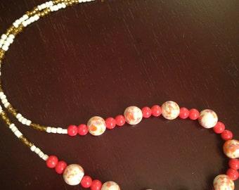 """18"""" Orange/White Beaded Necklace"""