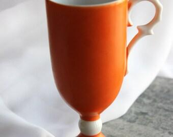 Orange Cup and Saucer Set (Vintage Orange, Cup and Saucer Set, Demitasse Set, Orange and White, Collectible Drinkware, Orange Cups, Orange)
