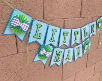 Little man bowtie banner, baby shower, its a boy, tie baby shower banner