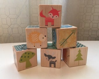Woodland Creatures Wooden Baby Blocks - Custom Name - Baby Shower and Nursery Decoration - First Birthday Gift