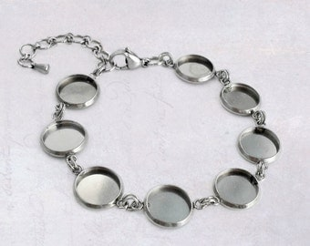 1 x Stainless Steel 10mm Cabochon Bracelet Blank Bezel Setting with Extender