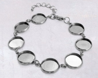 1 x Stainless Steel 12mm Cabochon Bracelet Blank Bezel Setting with Extender