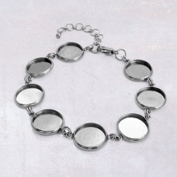 1 X Stainless Steel 12mm Cabochon Bracelet Blank Bezel Setting