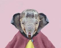 "Nursery art print, nursery artwork, baby animal print, poster for children, kids art, art painting, nursery print ""Baby Elephant"""
