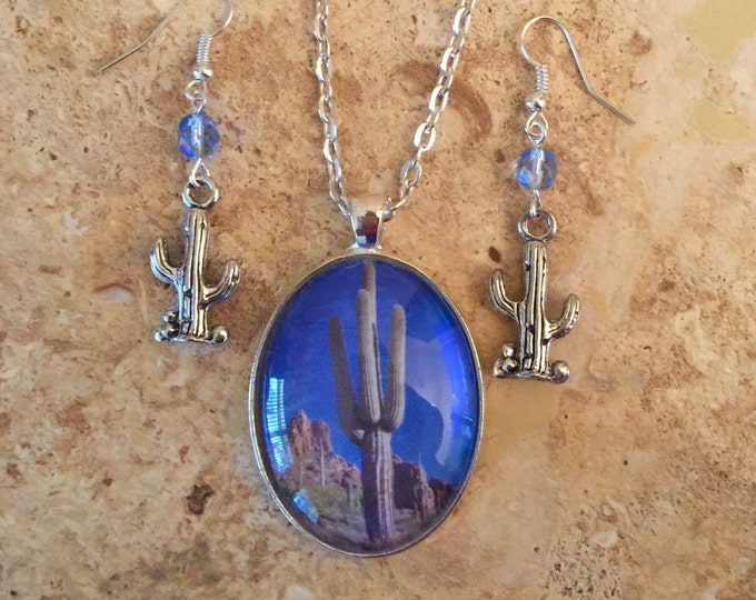 Southwest Saguaro Cactus Jewelry Set in Blue and Silver oval glass pendant with cactus charm earrings, Southwest cactus pendant and earrings