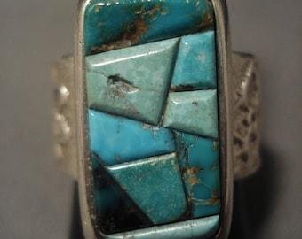 Advanced Vintage Navajo Duel Technique Tufa Cast Silver Ring Old