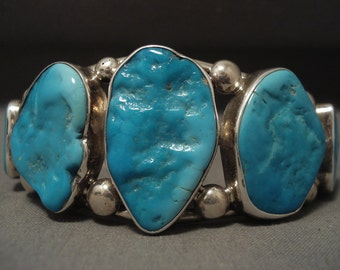 Chunky And Big Vintage Navajo Turquoise Silver Bracelet Old