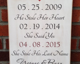 """Rustic Wood Sign - Our Love Story - 12"""" x 18"""""""