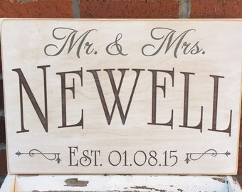 """Rustic Wood Sign - Family Name with Mr. & Mrs. - 12"""" x 18"""""""
