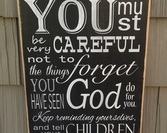 """Rustic Wood Sign - Dueteronomy 9:4 - 12"""" x 18"""""""